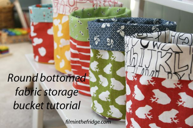 DIY Storage Baskets - Round Bottomed Fabric Storage Bucket - Cheap and Easy Ideas for Getting Organized - Creative Home Decor on A Budget - Farmhouse, Modern and Rustic Basket Projects