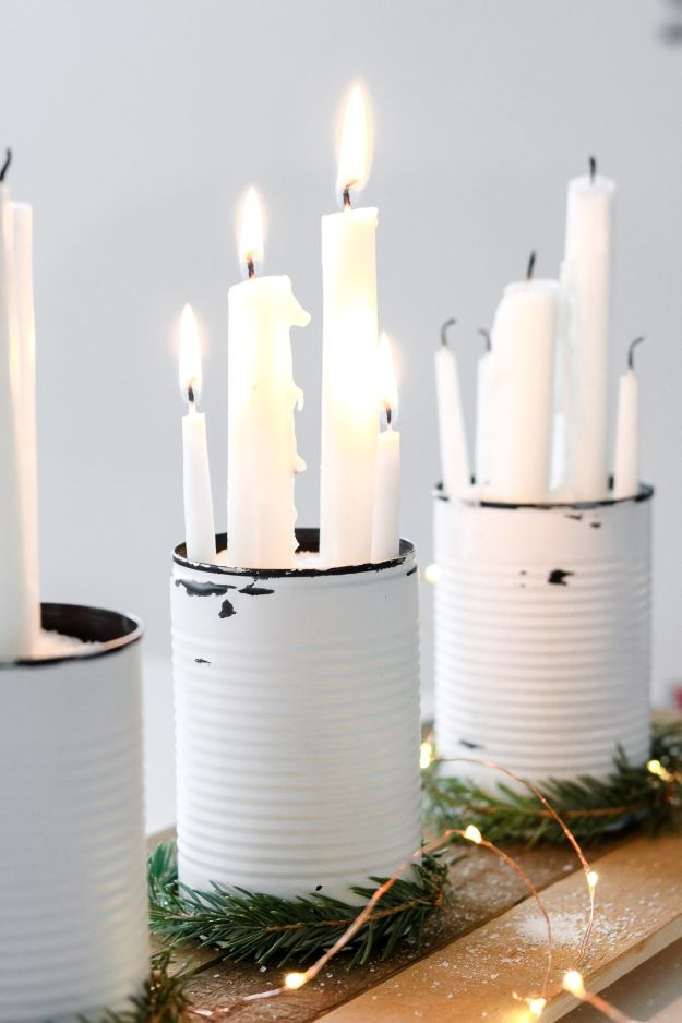 DIY Ideas With Tin Cans - Rustic Centerpiece - Cheap and Easy Organizing Projects and Crafts Made With A Tin Can - Cool Teen Craft Tutorials and Home Decor