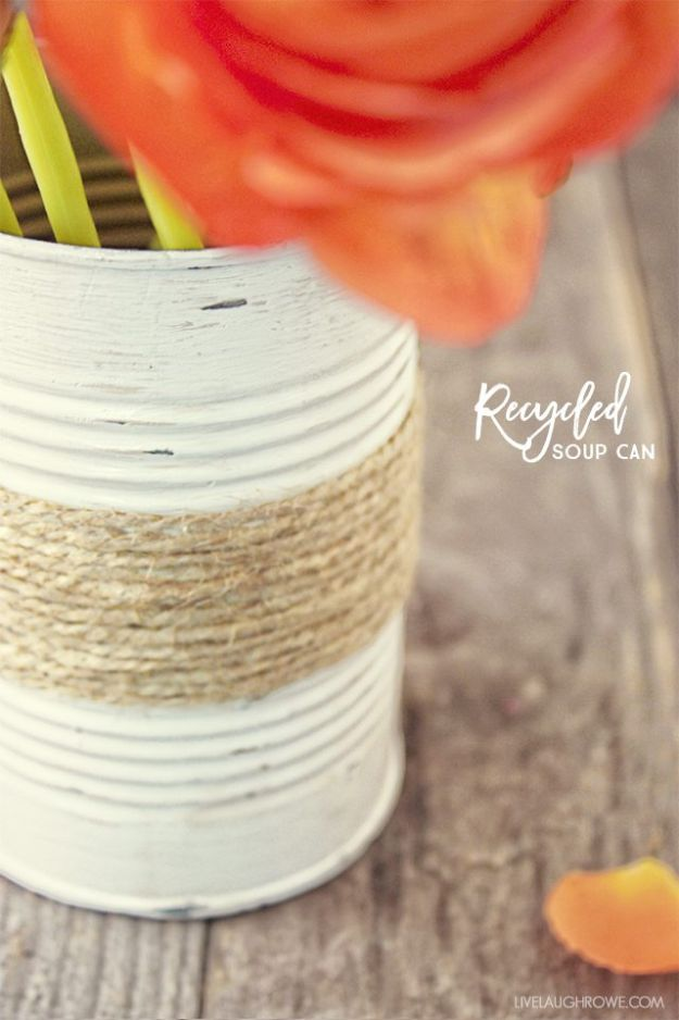 DIY Ideas With Tin Cans - Rustic Twine Wrapped Vase - Cheap and Easy Organizing Projects and Crafts Made With A Tin Can - Cool Teen Craft Tutorials and Home Decor