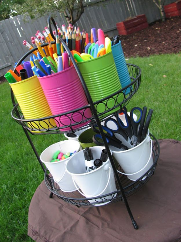 DIY Ideas With Tin Cans - School Supply Caddy - Cheap and Easy Organizing Projects and Crafts Made With A Tin Can - Cool Teen Craft Tutorials and Home Decor