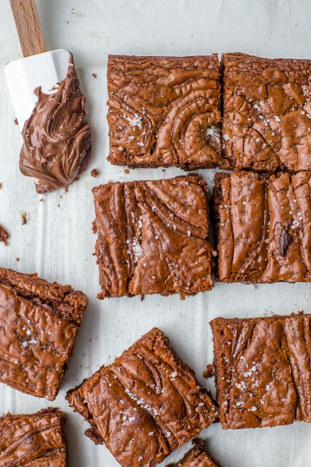 Brownie Recipes | Sea Salt Nutella Brownies - Easy and Healthy Recipe Ideas for Brownies - Chocolate, Blondies, Gluten Free and Caramel