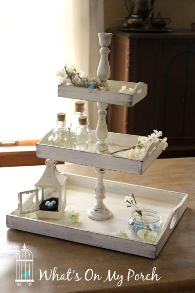 DIY Vanity Trays - Shabby Chic 3-Tiered Tray - Easy Homemade Decor for Bathroom, Bedroom and Vanities - Tray to Store Jewelry and Accessories With These Cool and Easy Crafts