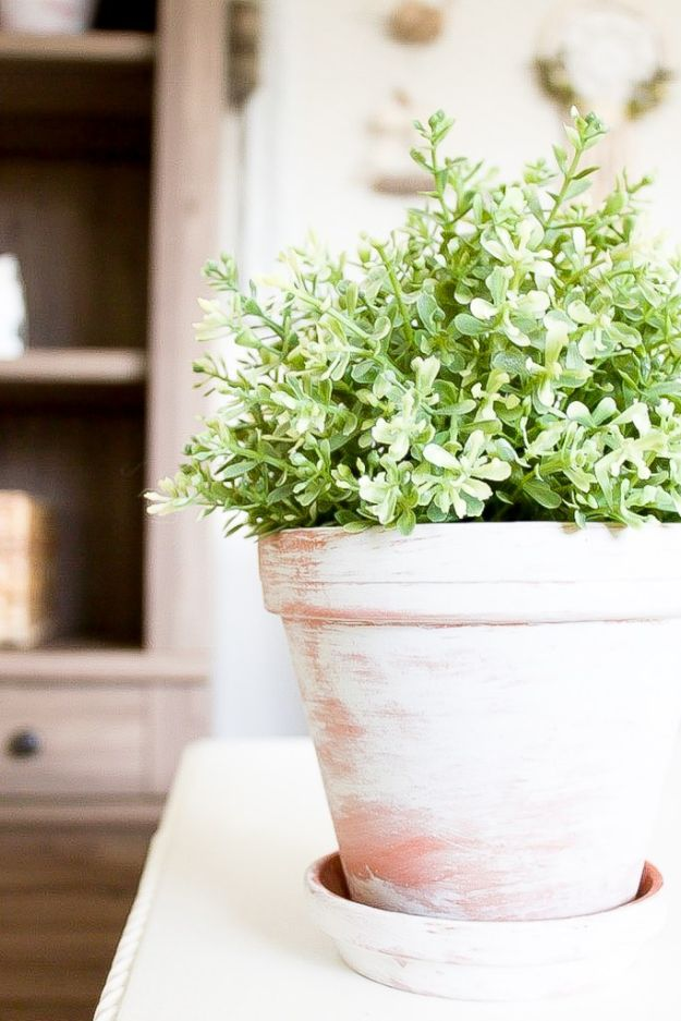 DIY Ideas for Clay Pots - Simple Vintage Inspired Whitewash Flower Pots - Cute Gardening Projects Tutorials for Decorating Pots - Pretty Rustic and Farmhouse Planters for Cheap Home Decor