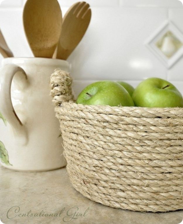 DIY Storage Baskets - Sisal Rope Bowl - Cheap and Easy Ideas for Getting Organized - Creative Home Decor on A Budget - Farmhouse, Modern and Rustic Basket Projects