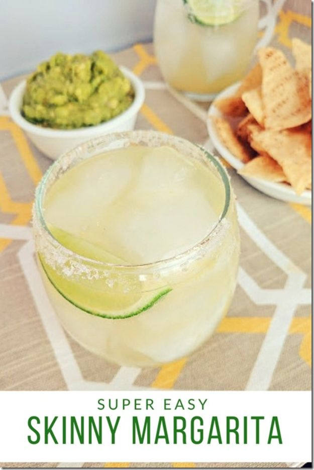 Margarita Recipes - Super Easy Skinny Margarita - Drink Recipes for a Party - Recipe Ideas for Blender Margaritas - Lime, Strawberry, Fruit | Easy Drinks With Tequila