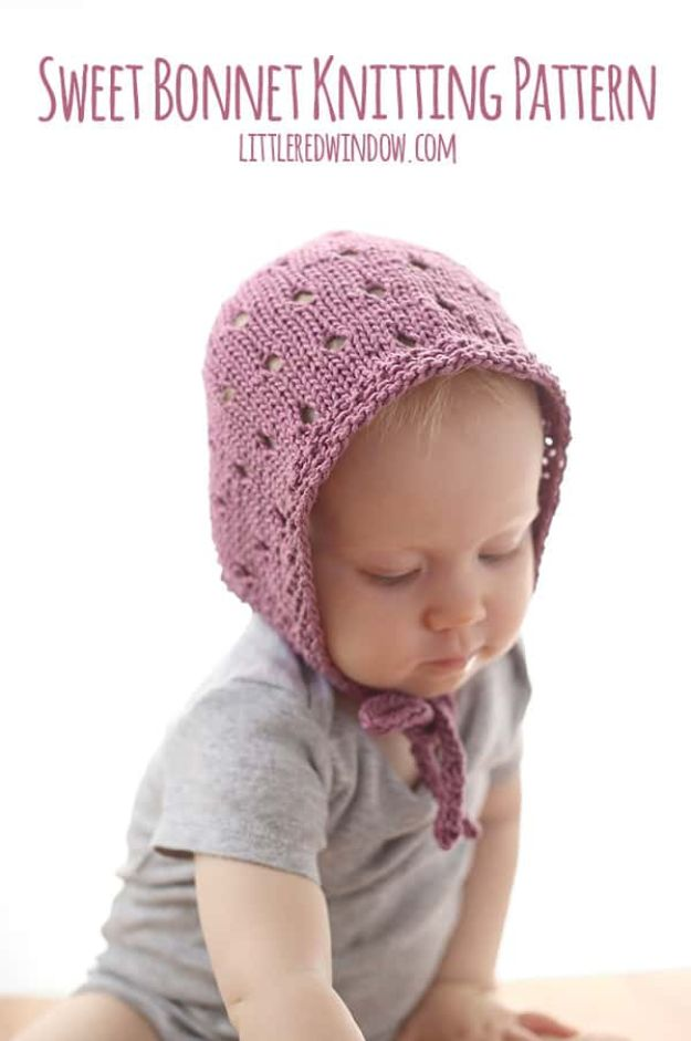 DIY Knitting Ideas for Baby - Sweet Baby Bonnet - Easy Blanket, Hat, Booties, Toys and Sweater Tutorials to Knit for Babies - Boy and Girl Clothes and Nursery Decor for Gifts