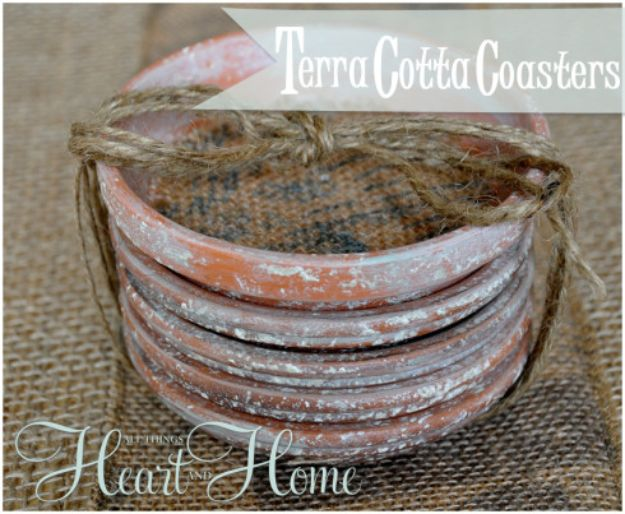 DIY Ideas for Clay Pots - Terra Cotta Coasters - Cute Gardening Projects Tutorials for Decorating Pots - Pretty Rustic and Farmhouse Planters for Cheap Home Decor