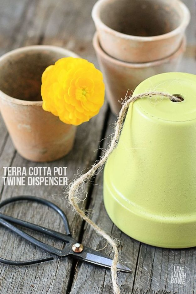 DIY Ideas for Clay Pots - Terra Cotta Pot Twine Dispenser - Cute Gardening Projects Tutorials for Decorating Pots - Pretty Rustic and Farmhouse Planters for Cheap Home Decor