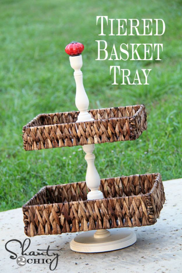 DIY Vanity Trays - Tiered Basket Tray - Easy Homemade Decor for Bathroom, Bedroom and Vanities - Tray to Store Jewelry and Accessories With These Cool and Easy Crafts