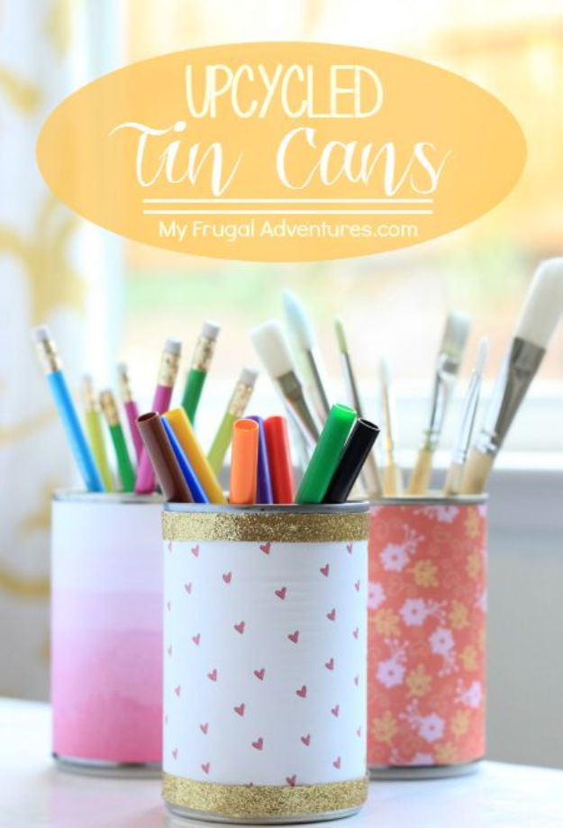 DIY Ideas With Tin Cans - Tin Can Desk Organizer - Cheap and Easy Organizing Projects and Crafts Made With A Tin Can - Cool Teen Craft Tutorials and Home Decor