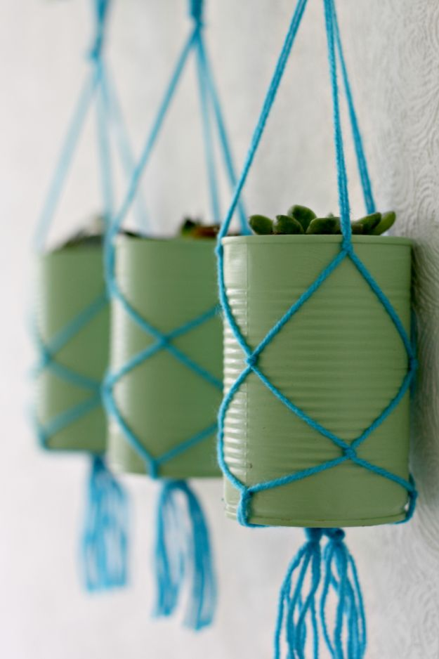 DIY Ideas With Tin Cans - Tin Can Hanging Planters - Cheap and Easy Organizing Projects and Crafts Made With A Tin Can - Cool Teen Craft Tutorials and Home Decor