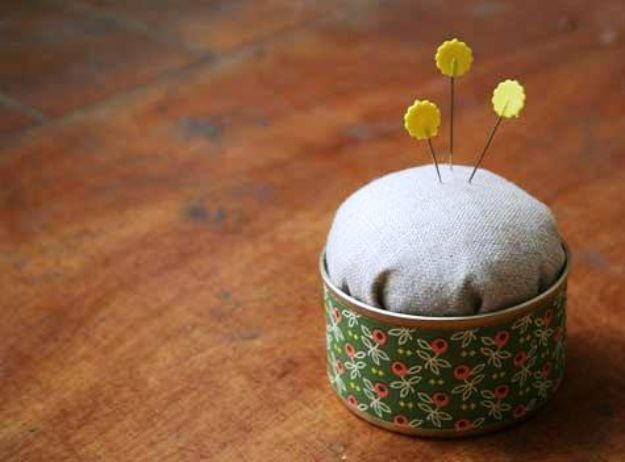 DIY Ideas With Tin Cans - Tin Can Pincushion - Cheap and Easy Organizing Projects and Crafts Made With A Tin Can - Cool Teen Craft Tutorials and Home Decor