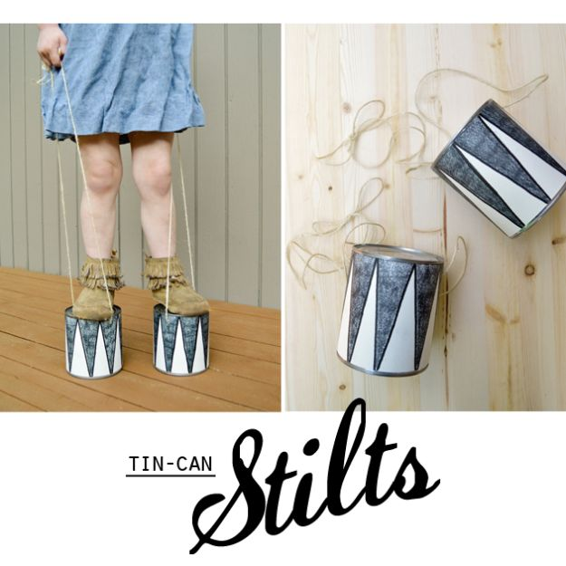 DIY Ideas With Tin Cans - Tin Can Stilts - Cheap and Easy Organizing Projects and Crafts Made With A Tin Can - Cool Teen Craft Tutorials and Home Decor