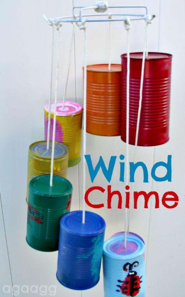 DIY Ideas With Tin Cans - Tin Can Wind Chime - Cheap and Easy Organizing Projects and Crafts Made With A Tin Can - Cool Teen Craft Tutorials and Home Decor
