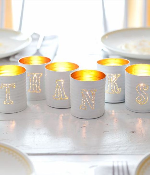 DIY Ideas With Tin Cans - Tin Punched Votive Candles- Cheap and Easy Organizing Projects and Crafts Made With A Tin Can - Cool Teen Craft Tutorials and Home Decor