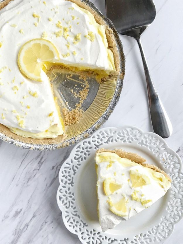 No Bake Desserts | Triple Layer Lemon Pudding Pie - Quick Dessert Ideas and Easy Sweets You Can Make Without Baking - Healthy Cookies and Pie