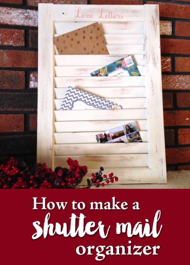 DIY Mail Organizers - Turn a Window Shutter Into a Mail Organizer - Cheap and Easy Ideas for Getting Organized - Creative Home Decor on A Budget - Farmhouse, Modern and Rustic Mail Sorter, Organizer