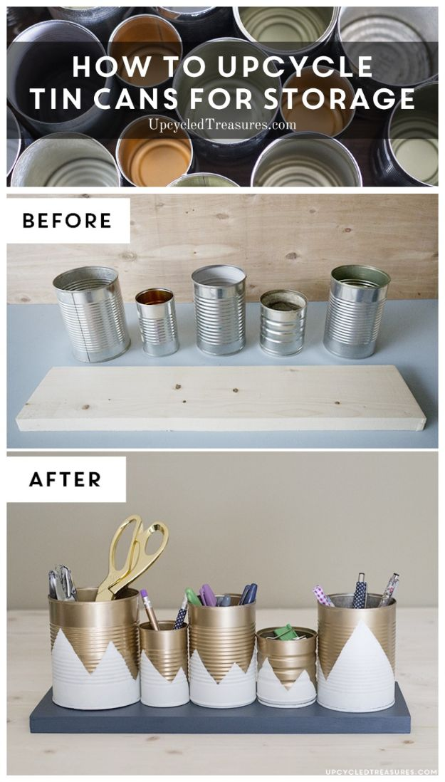 DIY Ideas With Tin Cans - Upcycled Tin Can Organizer - Cheap and Easy Organizing Projects and Crafts Made With A Tin Can - Cool Teen Craft Tutorials and Home Decor