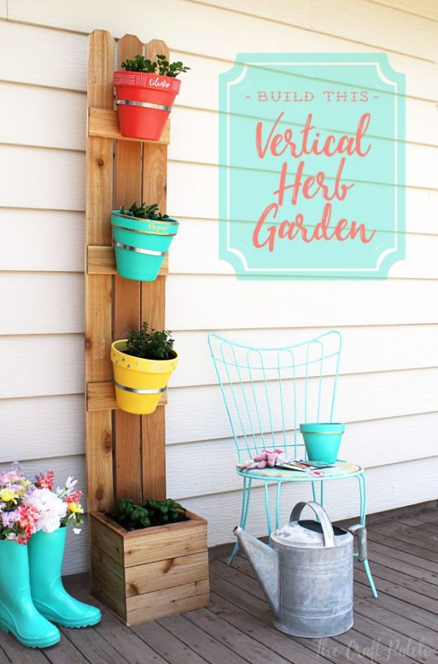 DIY Ideas for Clay Pots - Vertical Herb Garden - Cute Gardening Projects Tutorials for Decorating Pots - Pretty Rustic and Farmhouse Planters for Cheap Home Decor