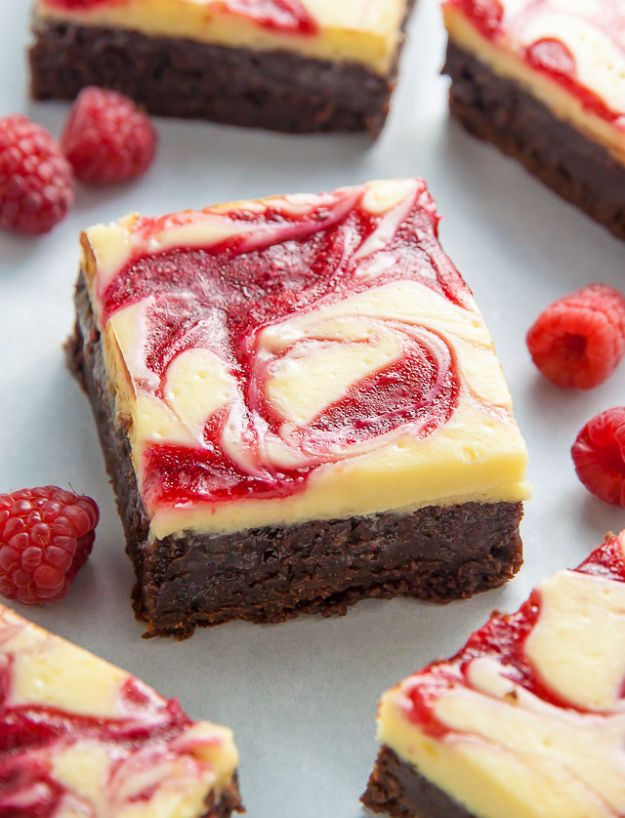 Brownie Recipes | White Chocolate Raspberry Cheesecake Brownies - Easy and Healthy Recipe Ideas for Brownies - Chocolate, Blondies, Gluten Free and Caramel