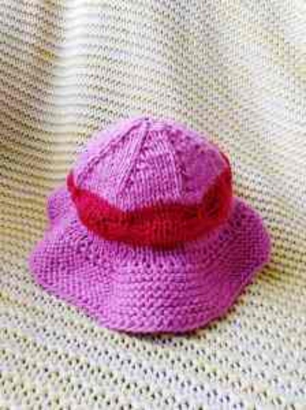 DIY Knitting Ideas for Baby - Wise Baby Sun Hat Pattern - Easy Blanket, Hat, Booties, Toys and Sweater Tutorials to Knit for Babies - Boy and Girl Clothes and Nursery Decor for Gifts