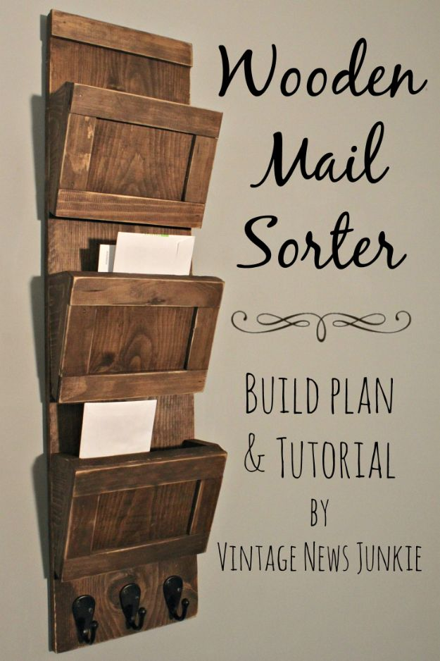 DIY Mail Organizers - Wooden Mail Sorter - Cheap and Easy Ideas for Getting Organized - Creative Home Decor on A Budget - Farmhouse, Modern and Rustic Mail Sorter, Organizer