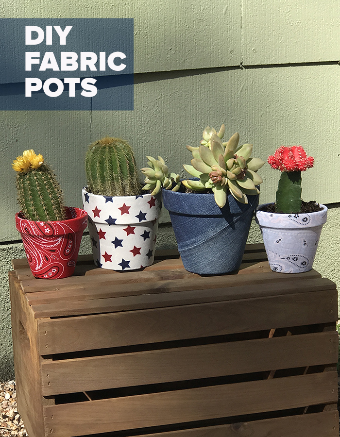 Easy Crafts - How to Make Fabric Covered Pots DIY - Decoupage Pot Covered In Scrap Fabric - Cheap Things to Sell on Etsy for Prot - Profitable Crafts to Sell for Money #diyideas #diygifts