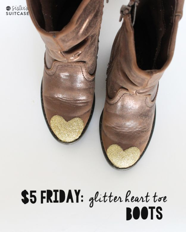 DIY Ideas For Your Boots | $5 Glitter Heart Toe Boots l Cool Way to Update Old Leather Boot | Denim, Painting, Decorating Cowboy Boots