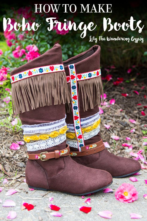 DIY Ideas For Your Boots | Boho Fringe Boots l Cool Way to Update Old Leather Boot | Denim, Painting, Decorating Cowboy Boots