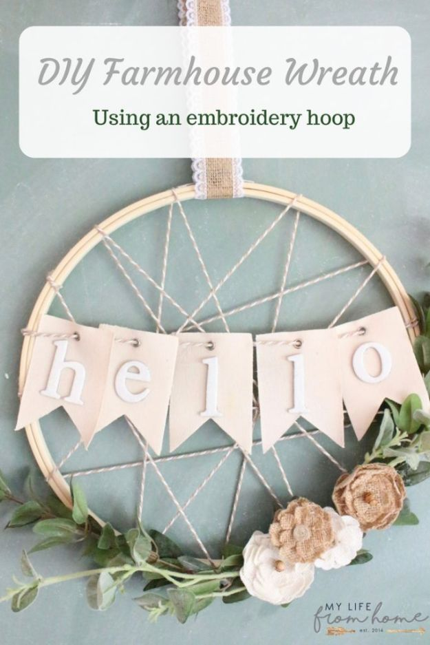 Magnolia Homes Gift Ideas - DIY Embroidery Hoop Wreath - DIY Home Decor Inspired by Chip and Joanna Gaines - Fixer Upper Gifts - Do It Yourself Decorating On A Budget With Farmhouse Style Decorations for the Home