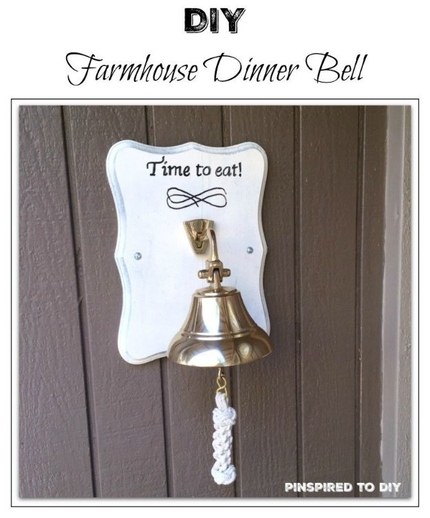 Magnolia Homes Gift Ideas - DIY Farmhouse Decor Dinner Bell - DIY Home Decor Inspired by Chip and Joanna Gaines - Fixer Upper Gifts - Do It Yourself Decorating On A Budget With Farmhouse Style Decorations for the Home