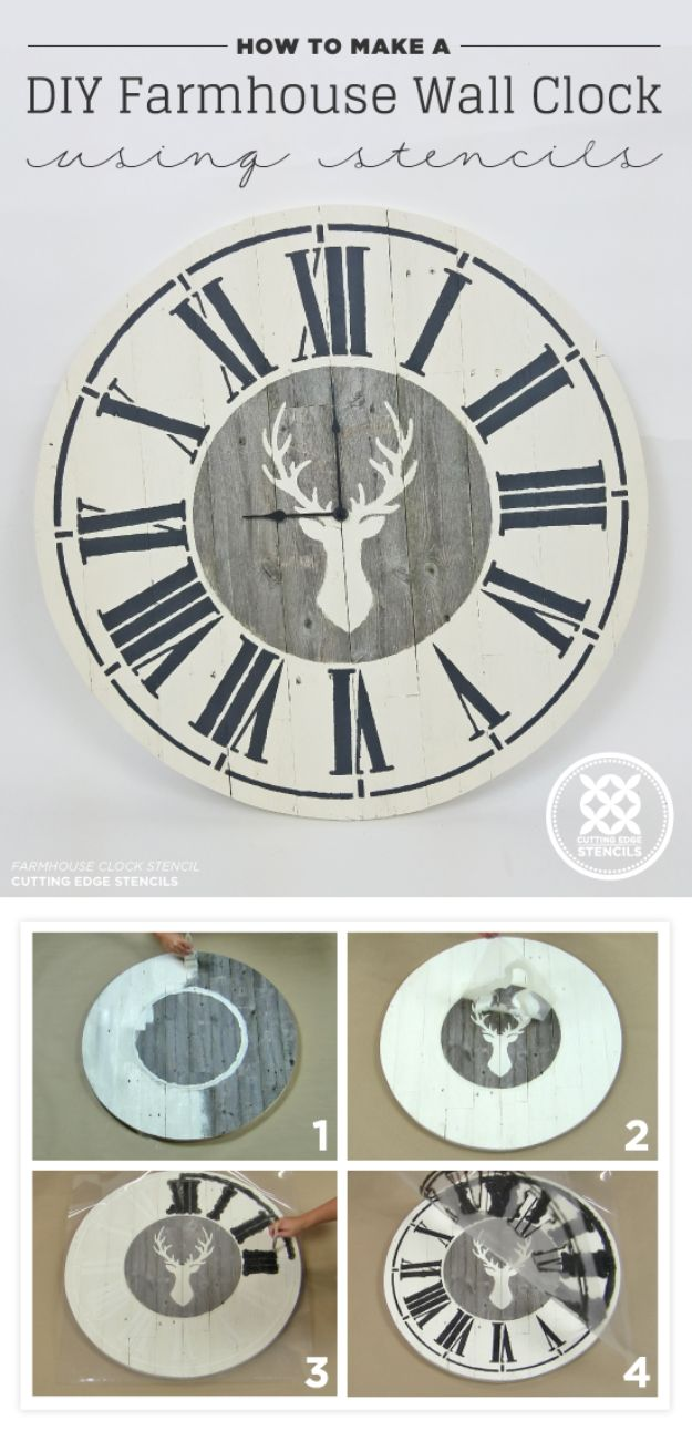 Magnolia Homes Gift Ideas - DIY Farmhouse Wall Clock Using Stencils - DIY Home Decor Inspired by Chip and Joanna Gaines - Fixer Upper Gifts - Do It Yourself Decorating On A Budget With Farmhouse Style Decorations for the Home