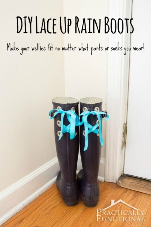 DIY Ideas For Your Boots | DIY Lace Up Rain Boots l Cool Way to Update Old Leather Boot | Denim, Painting, Decorating Cowboy Boots