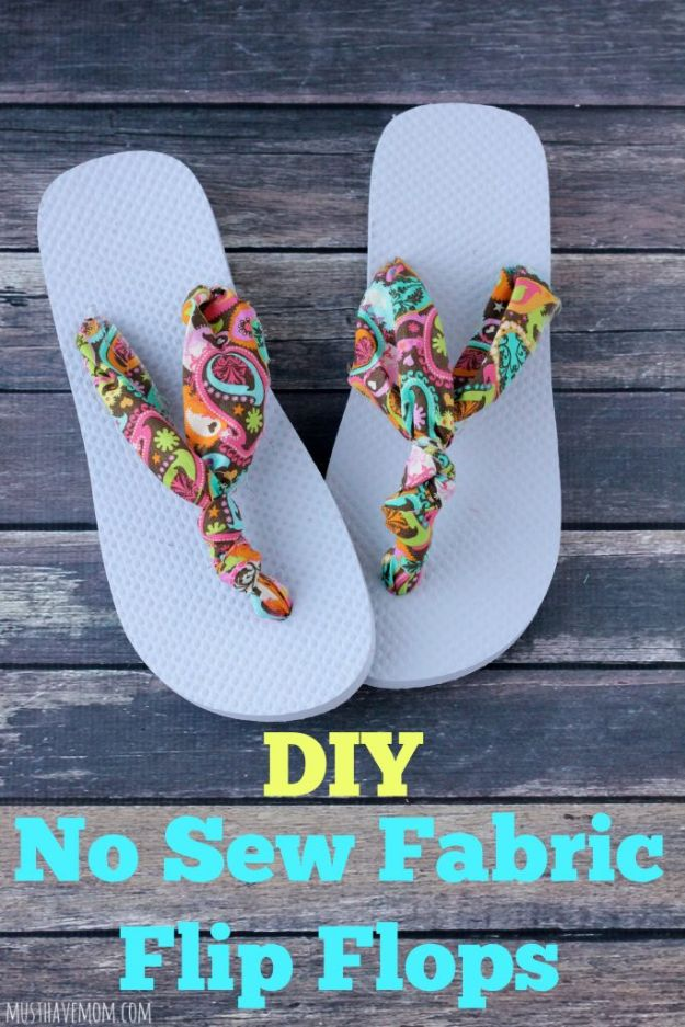 No Sew Gift Ideas - Quick Last Minute Holiday Gifts for Her - DIY No Sew Fabric Flip Flops
