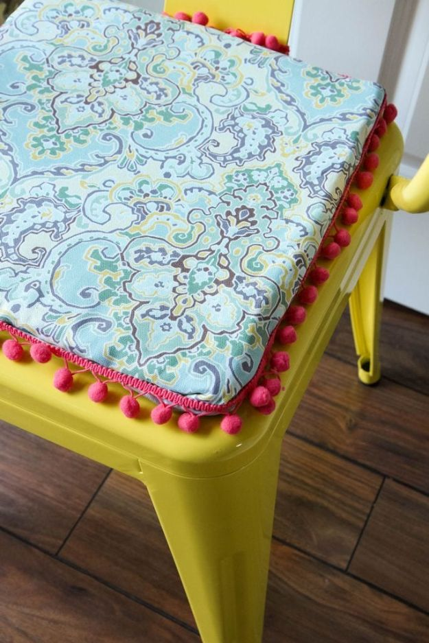 DIY No-Sew Reversible Chair Cushions