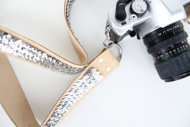 DIY No Sew Sequin Camera Strap