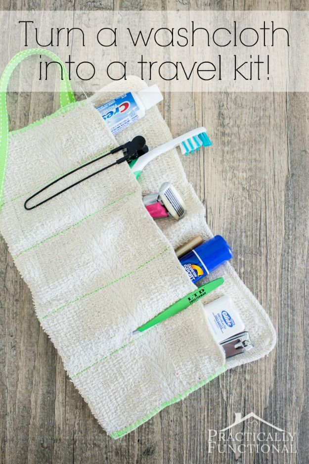 No Sewing DIY Travel Gift Idea - Quick No Sew Projects -No Sew Gifts to Make - Easy DIY Christmas Presents - No Sew Cape TutorialDIY Washcloth Travel Kit