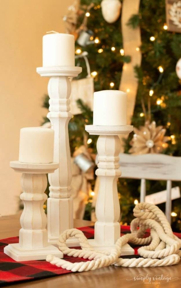 Magnolia Homes Gift Ideas - Easy DIY Farmhouse Candlesticks - DIY Home Decor Inspired by Chip and Joanna Gaines - Fixer Upper Gifts - Do It Yourself Decorating On A Budget With Farmhouse Style Decorations for the Home