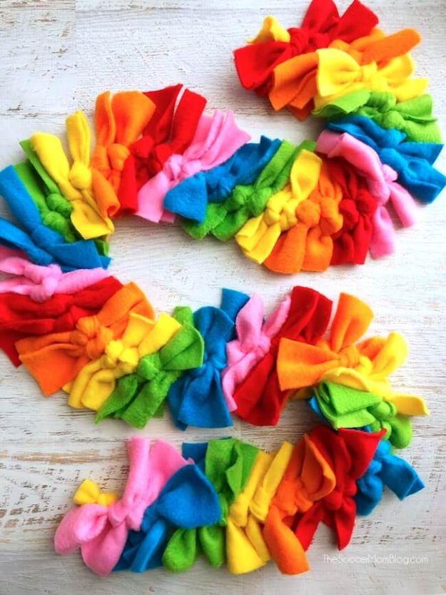 No Sew Gifts to Make - Easy DIY Christmas Presents -Easy Rainbow No Sew Fleece Scarf