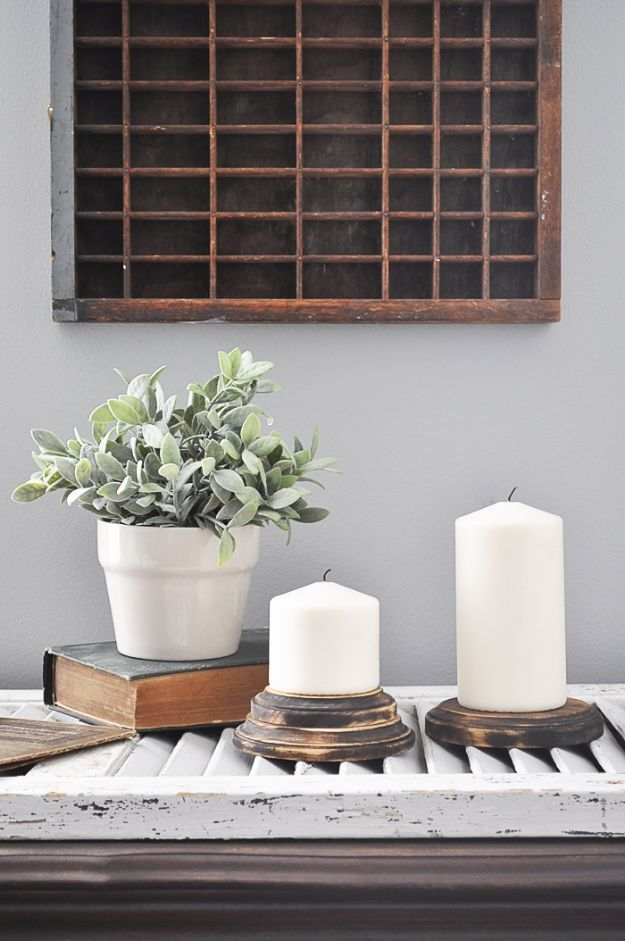 Magnolia Homes Gift Ideas - Farmhouse Candle Pedestals - DIY Home Decor Inspired by Chip and Joanna Gaines - Fixer Upper Gifts - Do It Yourself Decorating On A Budget With Farmhouse Style Decorations for the Home