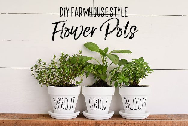 Magnolia Homes Gift Ideas - Farmhouse Style Flower Pots - DIY Home Decor Inspired by Chip and Joanna Gaines - Fixer Upper Gifts - Do It Yourself Decorating On A Budget With Farmhouse Style Decorations for the Home