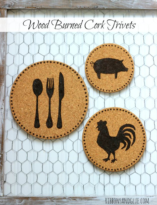 Magnolia Homes Gift Ideas - Farmhouse Wood Burned Cork Trivets - DIY Home Decor Inspired by Chip and Joanna Gaines - Fixer Upper Gifts - Do It Yourself Decorating On A Budget With Farmhouse Style Decorations for the Home