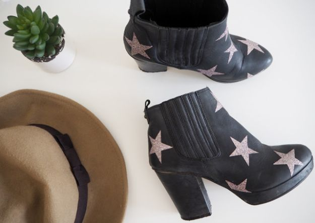 DIY Ideas For Your Boots | Glitter Star Boot Tutorial l Cool Way to Update Old Leather Boot | Denim, Painting, Decorating Cowboy Boots