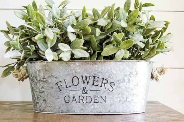 Magnolia Homes Gift Ideas - Inexpensive Galvanized Planters - DIY Home Decor Inspired by Chip and Joanna Gaines - Fixer Upper Gifts - Do It Yourself Decorating On A Budget With Farmhouse Style Decorations for the Home