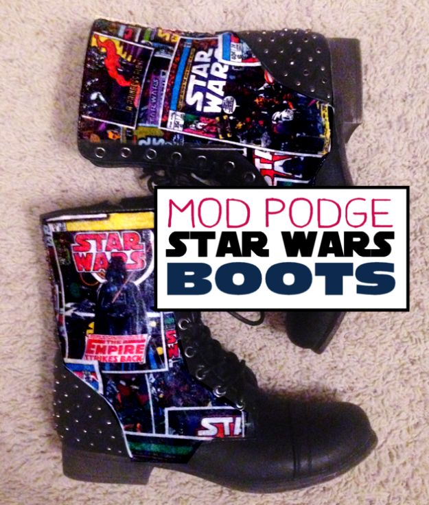 DIY Ideas For Your Boots | Mod Podge Star Wars Boots l Cool Way to Update Old Leather Boot | Denim, Painting, Decorating Cowboy Boots