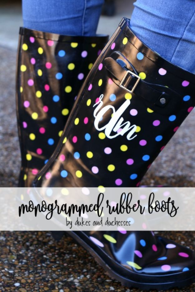 DIY Ideas For Your Boots | Monogrammed Rubber Boots l Cool Way to Update Old Leather Boot | Denim, Painting, Decorating Cowboy Boots