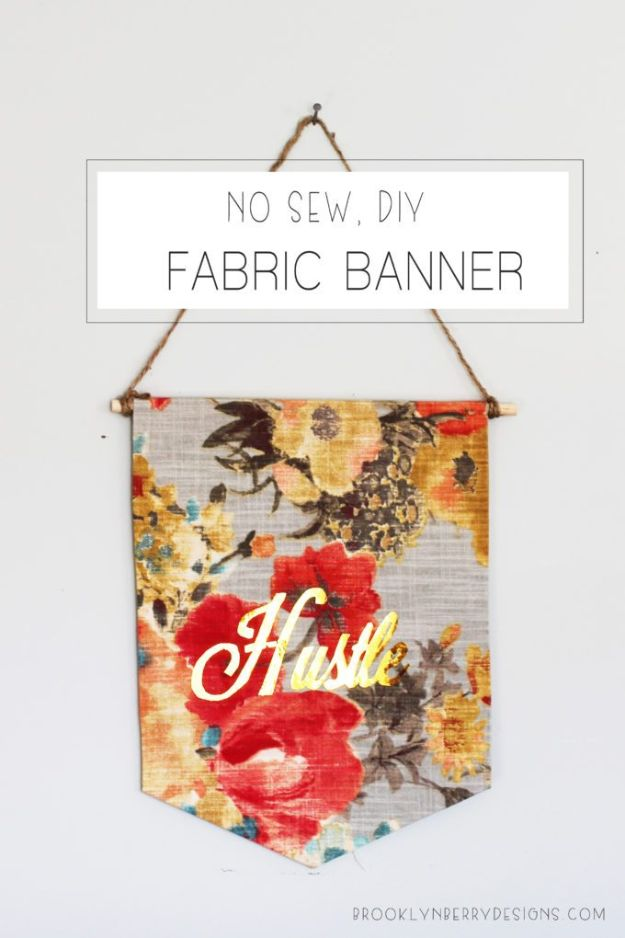No Sew Gift Ideas - Quick Last Minute Holiday Gifts for Her - No Sew DIY Fabric Banner