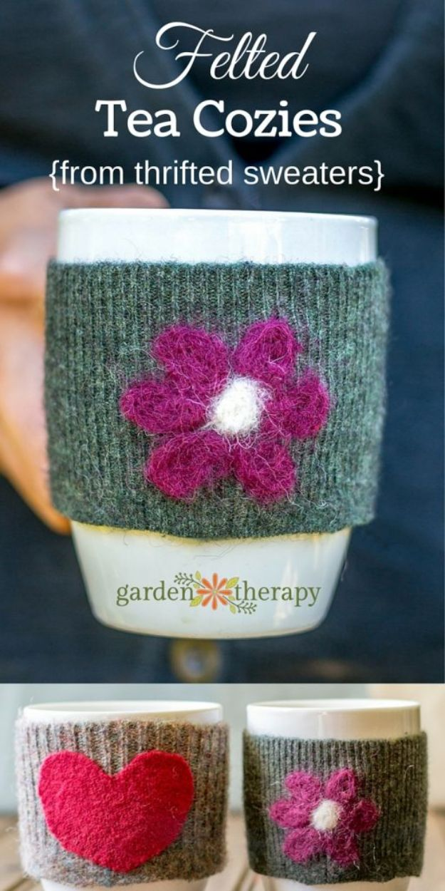 No Sew Gift Ideas - Quick Last Minute Holiday Gifts for Her - No-Sew Felted Mug Cozies