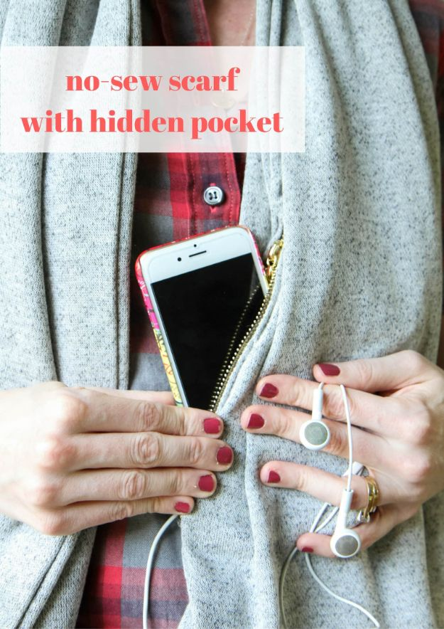 No Sew Gift Ideas - Quick Last Minute Holiday Gifts for Her - No-Sew Scarf With Hidden Pocket