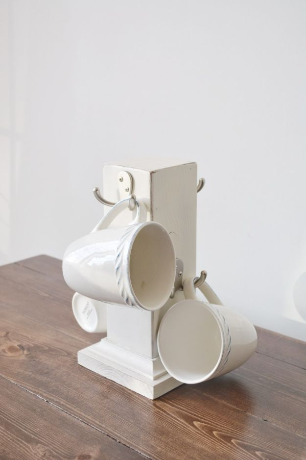 Magnolia Homes Gift Ideas - Rustic Farmhouse Mug Rack - DIY Home Decor Inspired by Chip and Joanna Gaines - Fixer Upper Gifts - Do It Yourself Decorating On A Budget With Farmhouse Style Decorations for the Home
